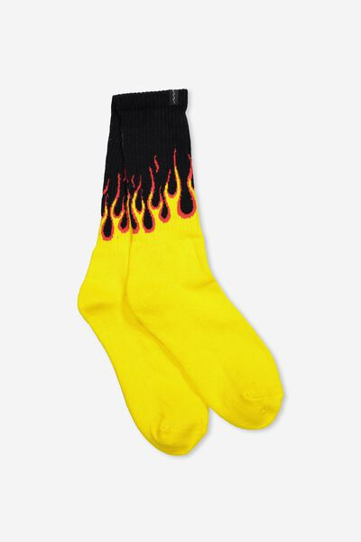 Retro Ribbed Socks, GALWAY FLAME BLACK