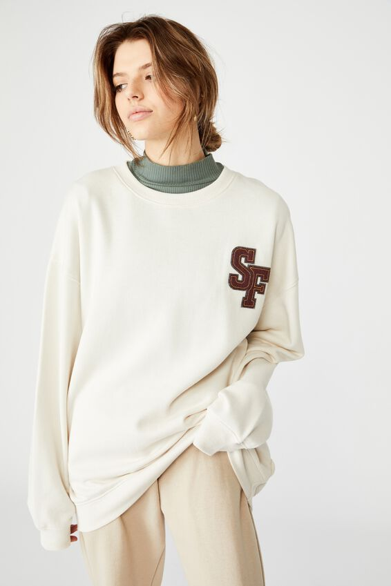 Oversized Graphic Crew, WASHED IVORY/SAN FRAN