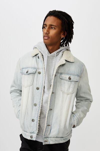 Denim Sherpa Jacket, BLEACHED BLUE