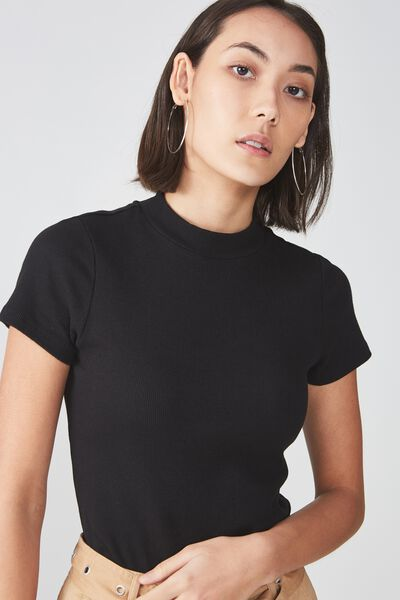 Short Sleeve Ribbed Tshirt, BLACK
