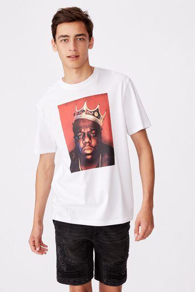 Regular License T Shirt, WHITE/BIGGIE CROWN