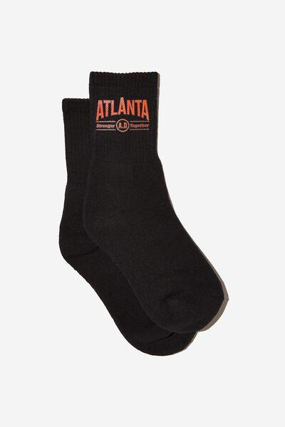 Retro Sport Sock, BLACK/BLACK ATLANTA