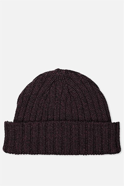 Fishermans Beanie, GRAPE WINE MARLE/BLK