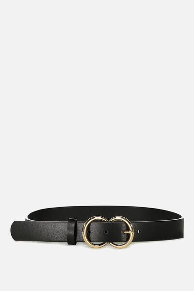 Double Buckle Belt, BLACK/GOLD