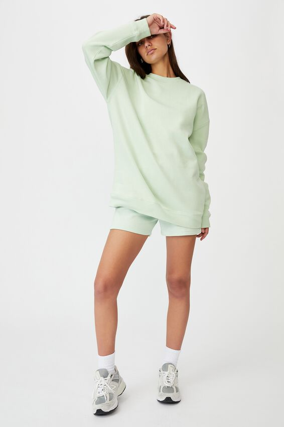 Oversized Crew Neck Sweater, CELADON