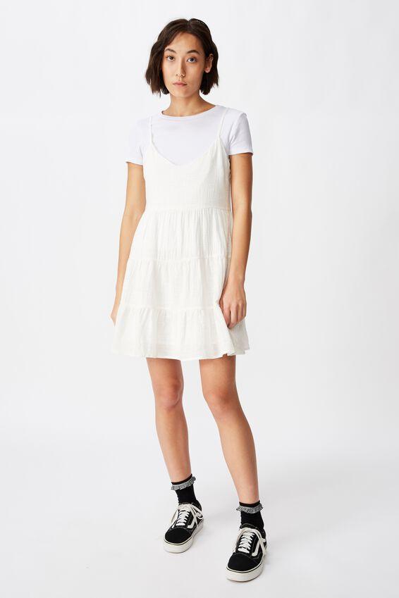 Textured Tiered Dress, WHITE