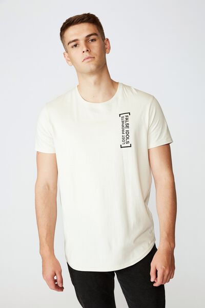 Curved Graphic T Shirt, IVORY FALSE PROPHETS NYC