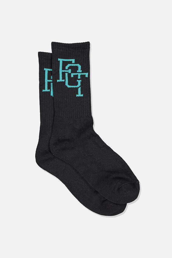 Retro Ribbed Socks, FCT BLACK AQUA LOGO