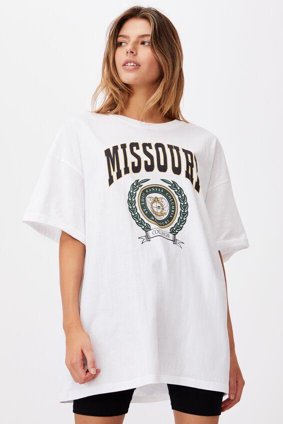 Oversized Graphic T Shirt, WHITE/MISSOURI