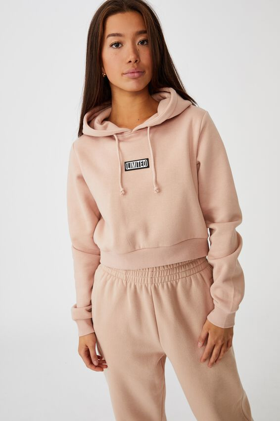 Classic Crop Graphic Hoodie, RUGBY TAN/LIMITED