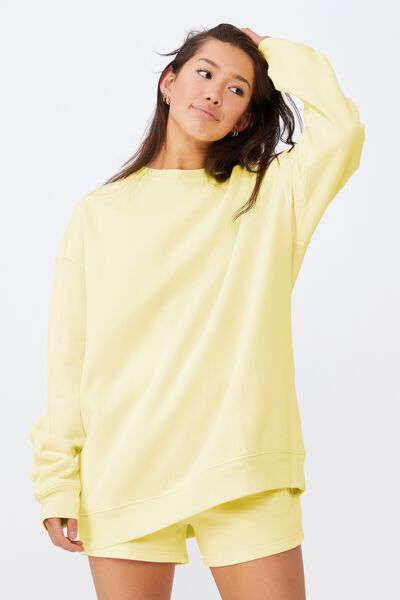 Oversized Crew Neck Sweater, TENDER YELLOW