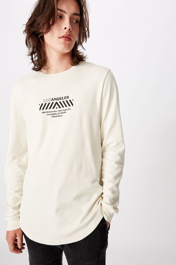 Curved Long Sleeve Graphic T Shirt, IVORY/LOS HAZARD