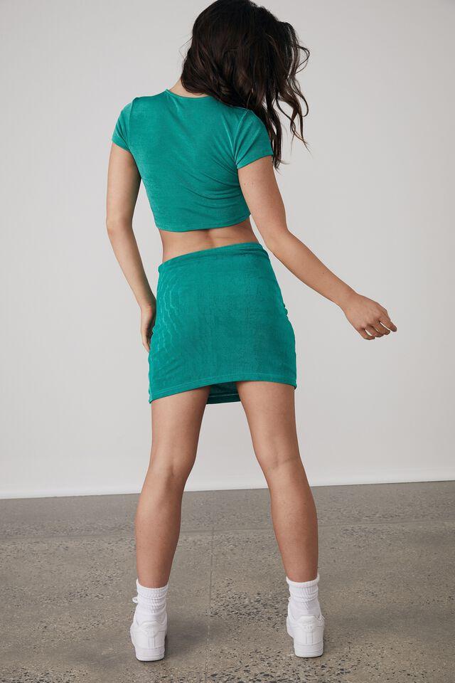 Slinky Ruched Side Split Skirt, CLOVER GREEN