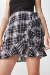 Wrap Ruffle Skirt, BLACK/WHITE CHECK