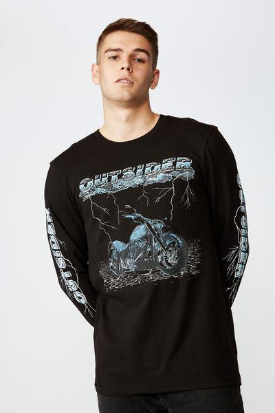Slim Long Sleeve Graphic T Shirt, BLACK/OUTSIDER