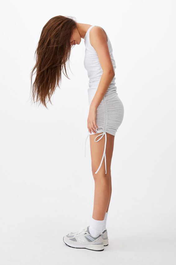 Ruched Sleeveless Dress, SILVER MARLE
