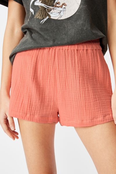 Cheesecloth Short, BURNT CORAL