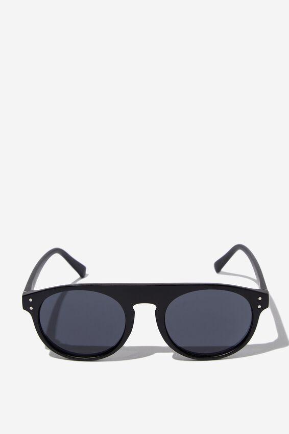 Round Flat Top Sunglasses, MATT BLK_SMK