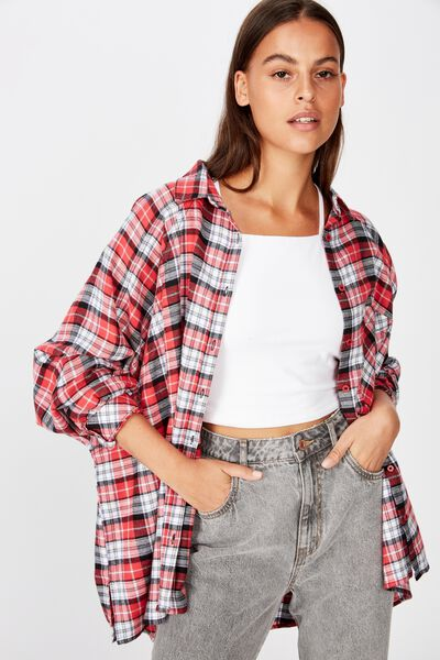 Oversized Check Shirt, RED CHECK