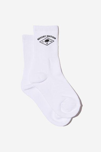 Retro Sport Sock, WHITE_POOLSIDE RESORT