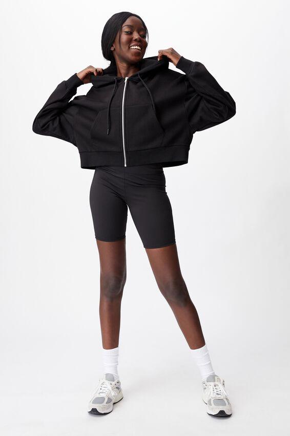 Oversized Zip Thru Hoodie, BLACK