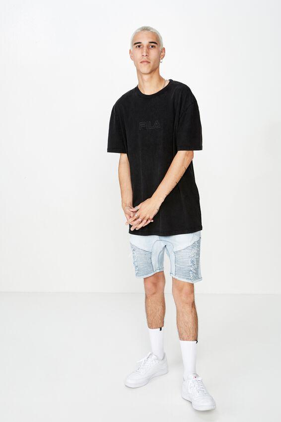 Fila Regular Washed T Shirt, WASHED BLACK