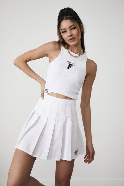 Fila Lcn Pleated Skirt, WHITE_FILA SPORT