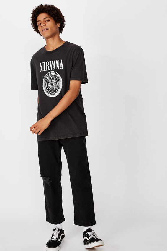 Regular License T Shirt, WASHED BLACK/NIRVANA