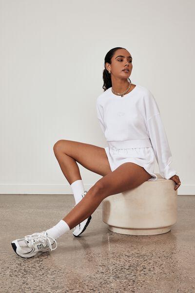 Ribbed Fleece Sporty Short, WHITE
