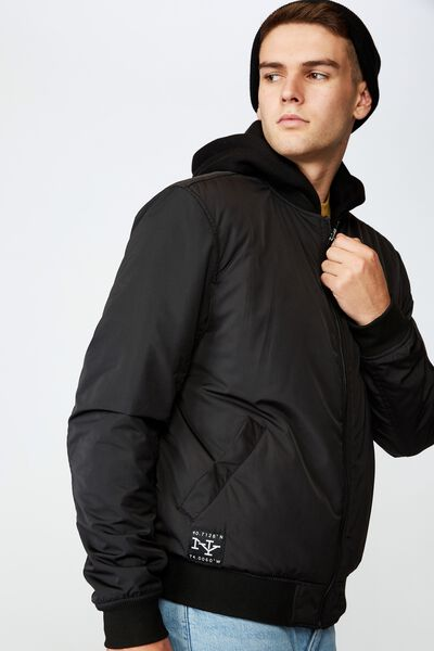 Reversible Hooded Bomber, BLACK