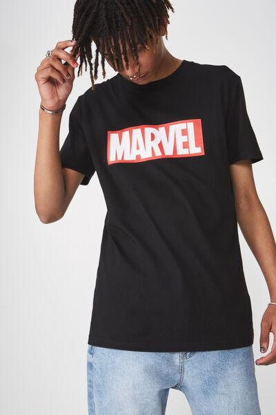 Licensed Print T Shirt, BLACK/MARVEL