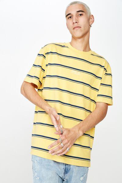 Fila Lcn Regular Stripe T Shirt, WASHED YELLOW/NAVY STRIPE