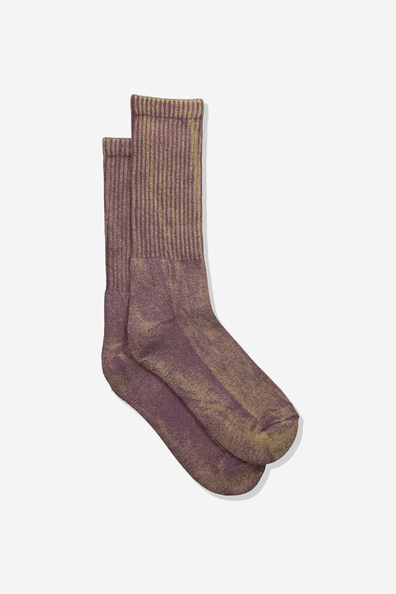 Retro Ribbed Socks, WASHED GRAPE
