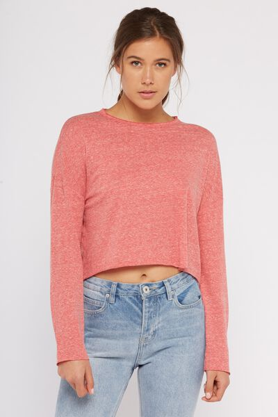 Fleck Raw Cut Long Sleeve, CHINA RED