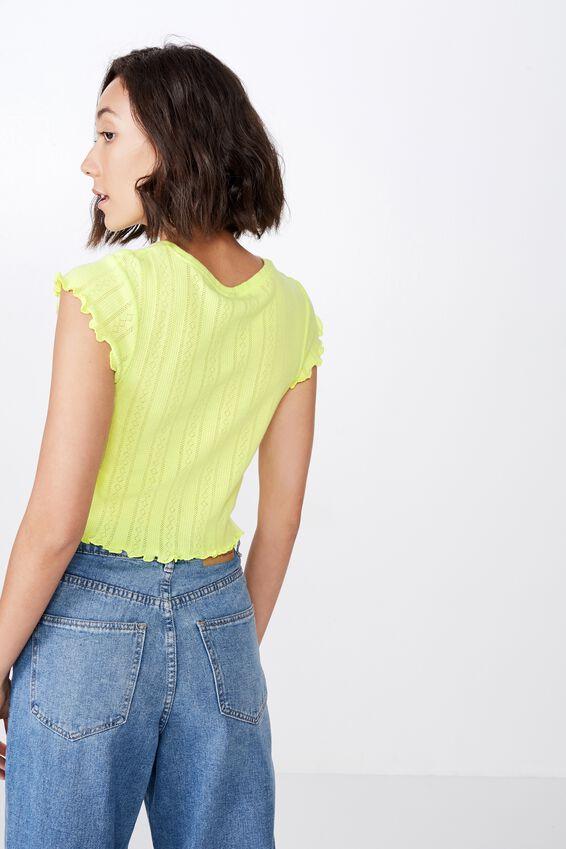 Short Sleeve Pointelle Top, SUNNY LIME