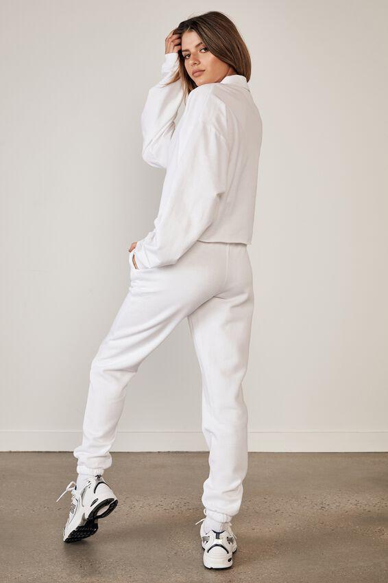Long Sleeve Crop Polo Top, WHITE