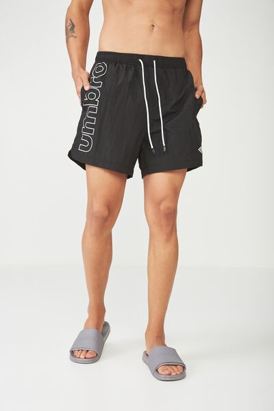 Umbro Lcn Large Logo Swim Shorts, BLACK