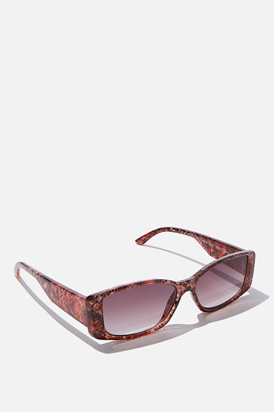 Rectangle Short Frame Sunglasses, SNAKESKIN