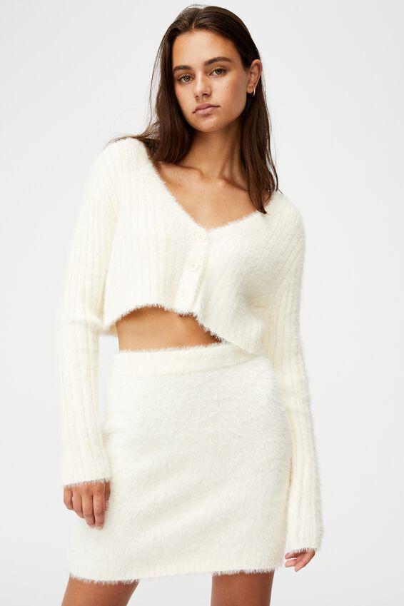 Fluffy Knit Super Crop Cardi, IVORY