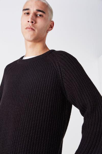 Chunky Raglan Crew Knit, BLACK