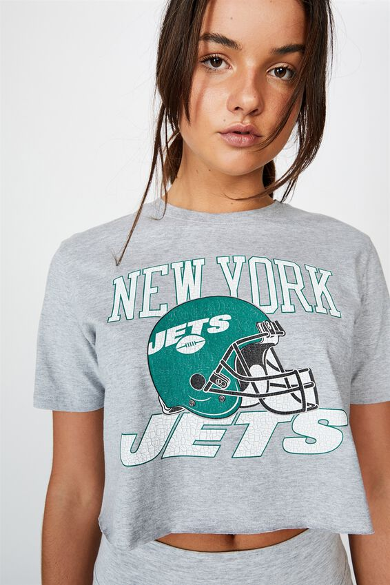Lcn Raw Edge Graphic T Shirt, GREY MARLE/NEW YORK JETS