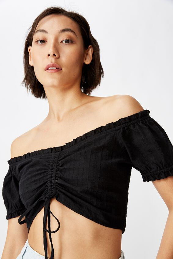 Off-Shoulder Ruched Top, BLACK