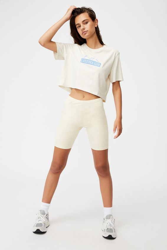 Short Sleeve Crop Graphic T Shirt, IVORY/L ATLETICA