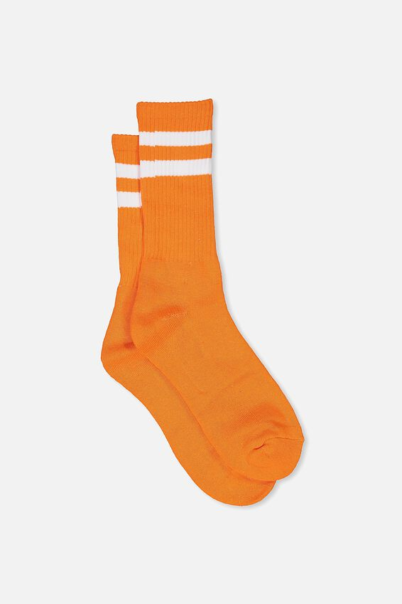 Retro Ribbed Socks, ORANGE_WHITE STRIPE