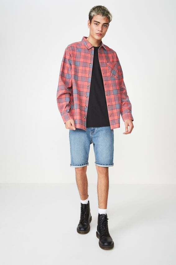 Long Sleeve Check Shirt, RED CHECK