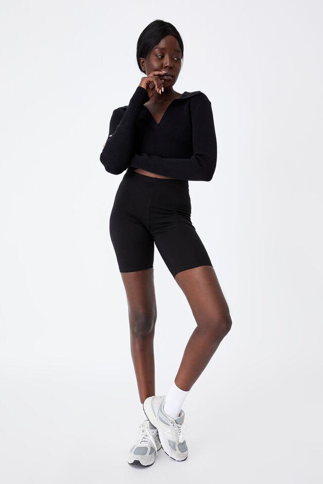 Ultra Crop Long Sleeve Top, BLACK