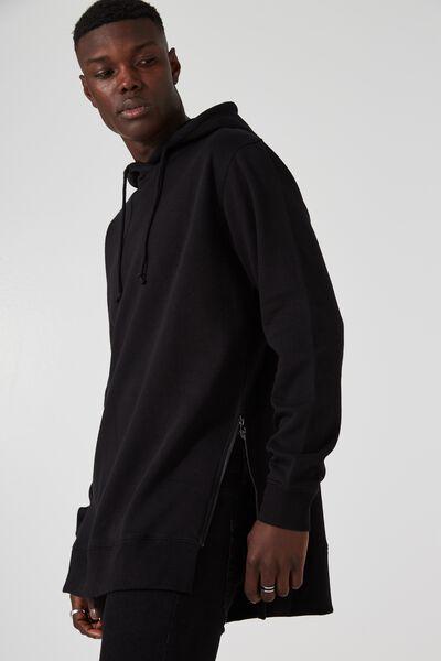 Side Zip Hoodie, BLACK