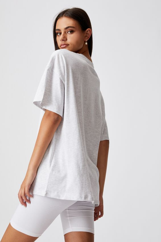 Super Relaxed Graphic Tee, SILVER MARLE/HERITAGE