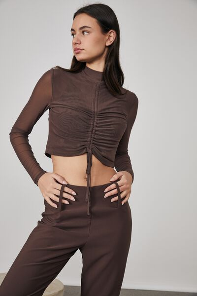 Long Sleeve Mesh Ruched Front Top, BITTER CHOC