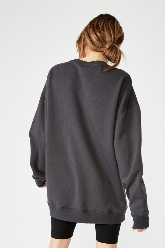 Oversized Crew Neck Sweater, ASPHALT
